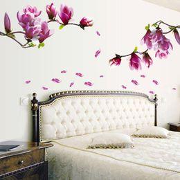 $enCountryForm.capitalKeyWord Australia - Wedding Wall Stickers Fresh Magnolia Decals for Living Room Bedroom TV Wallpaper Large Removable DIY Art Home Decoration