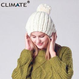 7e2654ae8b5 CLIMATE Fashion Women Winter Warm Pompom Beanie Hat New Women New Nice  Pompon Knitted Hat Beanie Warm For Girls
