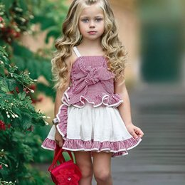 423f11e167a 2019 Summer Cute Baby girl outfits Plaid Lace strap Bow top + apron skirt  2pcs set clothing set Cheap wholesale