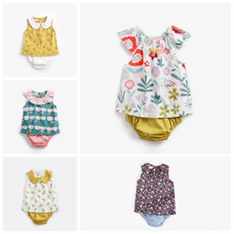 cute outfits tank tops NZ - Designer newborn baby outfits Pineapple cherry flower babies girl clothing set cute vest tank top with shorts pant 2pcs suit infant clothing