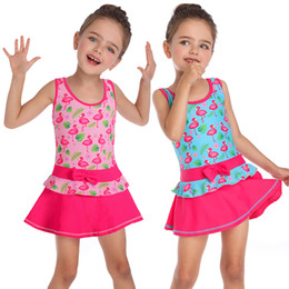 Skirt Swim wear online shopping - Baby Girls Flamingo Heart Print Skirt Swimwear Bow One Piece Suits Swimsuit Bathing Suit Children Beach Swim Wear PPA382