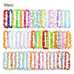 Discount hawaiian gifts - 50pcs pack Hawaiian Leis Wreath Necklace Artificial Flower For Wedding Party Decoration Supplies DIY Gift Decoration