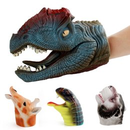 China Fun Soft dinosaur animal Hand puppet simulation Wolf Dilophosaurus Cobra Giraffe Hand Puppet Figure Toys for baby kids best gift suppliers
