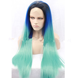 blue synthetic lace front wigs NZ - Natural Dark Roots Synthetic Lace Wig Blue Ombre Green Lace Front Womens Full Wavy Hair Synthetic Wig Heat Resistant Fiber