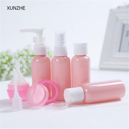 pink products Australia - New high quality portable pink plastic material travel bottle for cosmetic products filling points 9pcs sets of skin care box