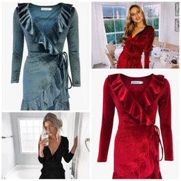 38662d40281b Ladies sexy home cLothes online shopping - Irregularity Lotus Dresses Pure  Color Velvetleaf Edge V Collar