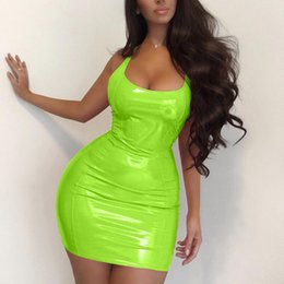 Wholesale Lacquered Leather Bodycon Dress Women Sexy Club Queen Dresses in 5 Colors Slim Fit Ins Hot Lady Sheath Mini Length Party Dress