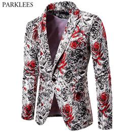 Casual slim suits for men online shopping - Rose Print Mens Floral Blazer Hombre Casual Slim Fit Men Blazer Jacket Suit Coats Wedding Party DJ Stage Men Costumes for Singer