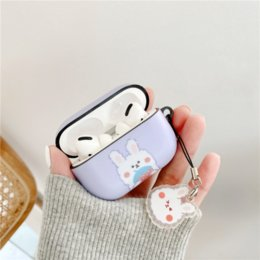 cute earphones for iphone NZ - Cute girl heart bunny Airpods Pro protective cover IMD soft shell for iphone Bluetooth headset bag charging box spot