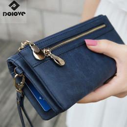 Army Wallets Australia - Fashion Women Wallets Dull Polish Leather Wallet Double Zipper Day Clutch Purse Wristlet Portefeuille Handbags Carteira Feminina