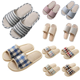 Slippers Summer Shoes Adult Australia - Adult Linen Striped Slippers Women House Summer Flax Shoes Indoor Floor Sandals Hot New Size 37-40