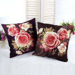 $enCountryForm.capitalKeyWord UK - 10pcs 45x45cm Pillowcase 3d Rose Printed Cushions Linen Cushion Cover Throw Pillow Case Living Bed Room Flower Peony Small Fresh C19041301