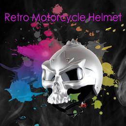 $enCountryForm.capitalKeyWord Australia - Half Open Face Motorcycle Helmet Vintage Ghost Face Double Lens Helmet Motorcross Mask for Man and Woman HHA256
