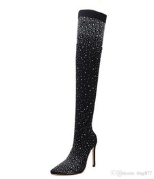 trendy heels NZ - Fashion hot sell new trendy hot sell cross-European rhinestone high-heeled women's boots stretch cloth sexy over-the-knee sex boots