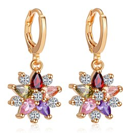 Copper Earrings Australia - CWEEL Drop Earrings For Women Fashion Jewelry Wedding Zircon Copper Bohemian Cheap Round Fringe Buttons Pom Pom Earring