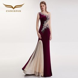 6846942409e CONIEFOX 32109 Sexy Slim chapel train mermaid Ladies Red wine elegance  backless prom dresses party evening dress gown long new C18122201