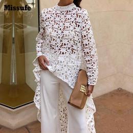 White lace tunic dress online shopping - Missufe Irregular Lace Dress The Women Long Sleeve Casual O Neck Spring Tunic Streetwear Female Vestidos Summer Dresses