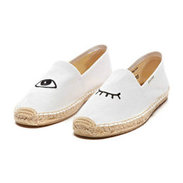 $enCountryForm.capitalKeyWord NZ - Canvas White Denim Pineapple Wing Espadrilles Jeans Flats Yellow Cute Watermelon Cartoon Women Shoes Flamingo Eyelash Large Size