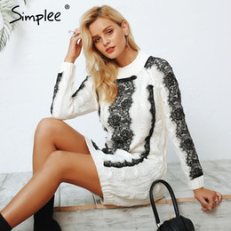 ElEgant kimonos online shopping - Simplee O neck twist knitted sweater dress women Elegant lace autumn winter dress Vintage long sleeve white dress vestidos Y190117