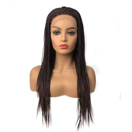 Long Hair Braided Australia - Braided Box Braids Hair Synthetic Lace Front Wigs Long Black Dark brown African American Wigs