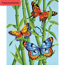 butterfly oil canvas NZ - Picture By Numbers Animal Butterfly Handpainted Diy Art Kits Drawing Canvas Oil Painting Gift Home Decoration Animals Art Picture Wall Art