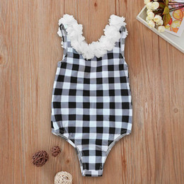 hot one piece swimwear NZ - Girls Petal Checker Swimwear One-Piece Summer 2020 Kids Boutique Clothing Hot Sale 0-3T Little Girls Sleeveless Plaid Swimming Suit