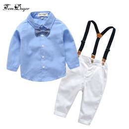 $enCountryForm.capitalKeyWord Australia - Boys Clothing Sets Autumn Kids Boy Clothes Suit Long Sleeve Blue Shirts+overalls 2pcs Children Gentleman Bebes Boy Outfits Set MX190803
