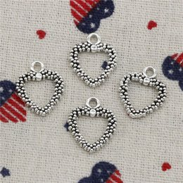 Bracelets Lovely Charming Australia - 208pcs Charms hollow lovely heart 19*16mm Pendant, Tibetan Silver Pendant,For DIY Necklace & Bracelets Jewelry Accessories