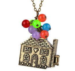 silver house pendant Australia - 10Pcs Balloon house up Necklace beads Pendant Long Necklace Women colorful Box Can be opened Necklaces Necklace