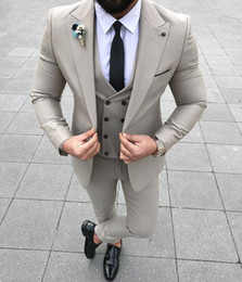 three piece jackets design Canada - New Design One Button Wedding Men Suits Peak Lapel Three Pieces Business Groom Tuxedos (Jacket+Pants+Vest+Tie) W981