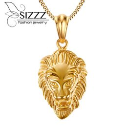 gold chain necklace lion pendant UK - wholesale Punk style domineering new lion head golden high quality Pendant & Necklaces For Men