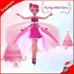 Drones leD lights online shopping - Hot DIY Flying Fairy Dolls Toy Mini RC Drone Infrared Induction Control LED Light Flying Fairies Doll Helicopter Toys for Girls Xmas Gift
