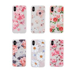 $enCountryForm.capitalKeyWord Canada - Bling Diamond Flower Soft TPU Case For iPhone X XS MAX XR 7 8 6 Plus Mandala Blossom Rose Henna White Floral Paisley Painting Cover Emboss