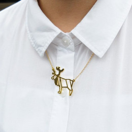 Origami Necklace Charms Australia - 10PCS Geometric Christmas Origami Deer Necklace Animal Antler Reindeer Horn Stag Woodland Moose Bambi Elk Charm Chain Necklaces