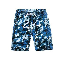 Funfeliz Children Quick Dry Beach Shorts7-15 Years Teenage Boys Swim Shorts Camouflage Swimming Trunk Boy Surf Board shorts on Sale