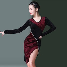 Women Velvet Clothes Australia - Latin Dance Dress Ladies Velvet Long Sleeves Tango Rumba Cha Cha Dancing Clothes Women Stage Practice Performance Wear DN2899