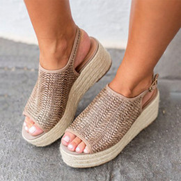 Gold Low Heeled Sandals NZ - 2019 new large size ladies sandals summer twine fisherman shoes pinch low heel shoes toe Roman ladies sandals