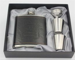 $enCountryForm.capitalKeyWord Australia - High-grade Stainless Steel Hip Flask Set Gift Box Packing Portable 7OZ Leather cover Flagon With Funnel And Cups Hip Flask