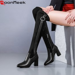 $enCountryForm.capitalKeyWord Australia - MoonMeek fashion stretch+genuine leather boots women square tow zip over the knee boots high heels prom autumn winter 2020