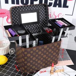 Professional travel makeuP box online shopping - Women Makeup Organizer Large Capacity Professional Toiletry Cosmetic Bag Multilayer Storage Box Portable Suitcase DESIGN LJJK1688