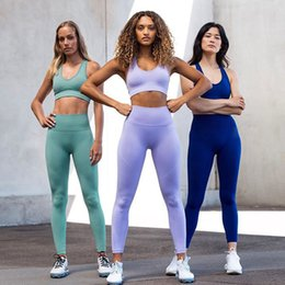 Wholesale yoga bras sale resale online - Hot Sale Women Seamless Solid Knitted Yoga Gym Fitness Tracksuits Sets Sportswear Bra Vest High Waist Leggings Pants Suits