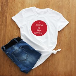 $enCountryForm.capitalKeyWord UK - T Shirt Women Funny Slogan Cotton I Believe In Red Lipstick Fashion Lovely Tops T-shirt Women Tshirt Gift for Friend XS-3XL