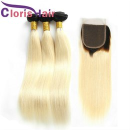 1b 613 ombre straight hair weave 2020 - Colored Blond Peruvian Virgin Hair Bundles With Closure 1B 613 Blonde Silk Straight Ombre Weave 3 Bundles With Human Hai