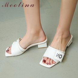 Black Blocks Canada - Meotina Women Shoes Summer Slippers Fashion Block Heel Shoes Casual Open Toe Slides Female Sandals White Black Large Size 33-43