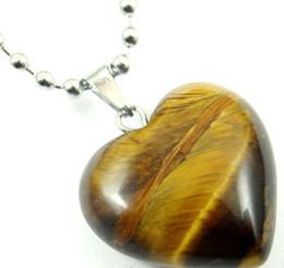 Venta al por mayor de Piedra Natural ojo de tigre de Cristal de Cuarzo ópalo corazón Colgante Cadenas de acero inoxidable Collar Joyería de Moda de las mujeres que hacen 20mm 1 UNID