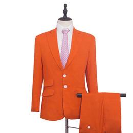 e6562ba66 Chaqueta naranja de lino Trajes de verano para el novio 2 piezas Playa  Padrino de boda de hombre a medida Blazers para traje de boda C19041601