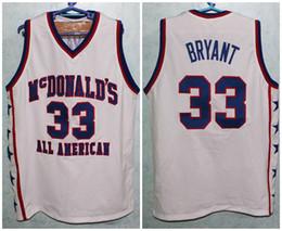 f34afa4b959 McDonald's All American Kobe Bryant #33 White Retro Basketball Jersey Mens  Stitched Custom Any Number Name Jerseys
