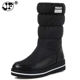 low platform wedges UK - Plus size 35-44 new snow boots women warm cotton down shoes waterproof boots fur platform mid calf boots black 569