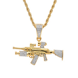 two tone chain necklace Australia - Hip Hop Zircon Paved Bling Iced Out Sniper Rifle Gun Pendants Necklace for Men Rapper Jewelry Gold Silver Two Tone Color