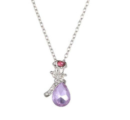 flower christmas ornament UK - ( Purple Pendants) Wholesale New style popular rose necklace short style temperament angel tears crystal flower Pendants ornaments